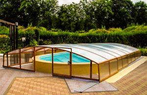 навесы для бассейнов раздвижные установка